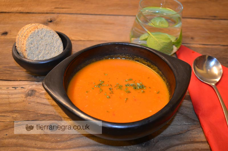 Tomato, sweet yellow pepper and sweet potato soup