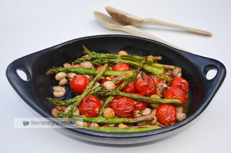 Roasted asparagus, mushrooms and tomatoes